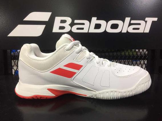 Zapatillas Babolat Pulsion Niño Blanco Rojo