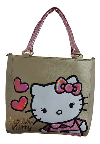 Imagen 1 de 7 de Bolsa De Mano De Dama, De Hello Kitty En Color Dorado 1