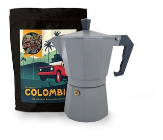Combo Cafetera Italiana 6 Pc+ Colombia 250 G