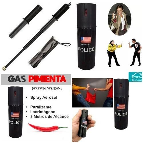Imagen 1 de 2 de Gas   Pimienta Police Forte  + Baston Retractll Resortes