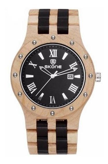 Relógio Masculino Skone Analógico Madeira 7399bg