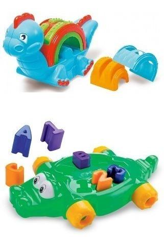 Kit Brinquedos Jacaré Bobbodylo Dismat + Empilha Sauro