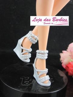 Sapato Original Para Boneca Barbie Anabela Espadrille Prata