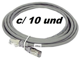 Patch Cord Cinza 1,5m Cat5 - Kit Com 10 Unidades