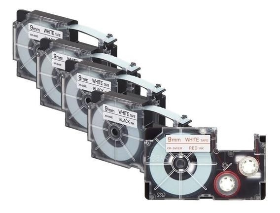 Paquete 5 Cintas Para Rotulador Casio 4 Xr-9we1 + 1 Xr-9wer1
