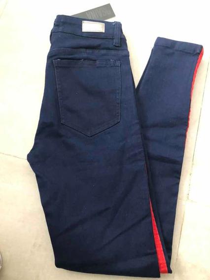Jeans Con Rayas A Los Costados Elastizado