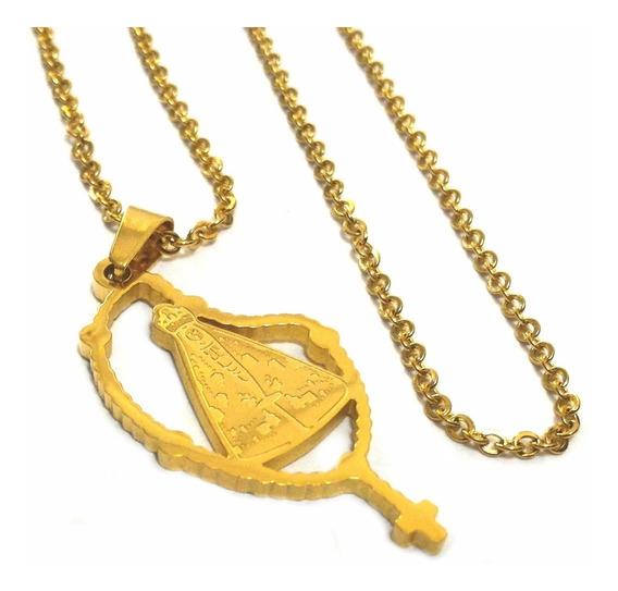 Pingente Feminino Nossa Senhora E Corrente Banhados Ouro 18k