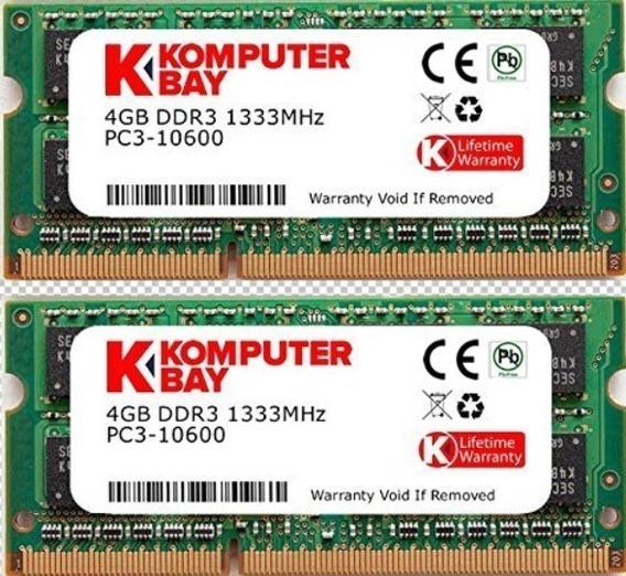 Memoria Ram 8gb Komputerbay (2x 4gb) Ddr3 Sodimm (204 Pin) 1333mhz Pc3-10600 (9-9-9-25) Para Apple Mac Mini