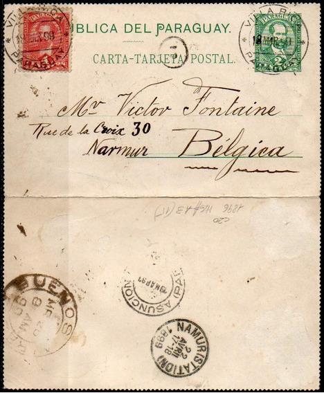 Paraguay 1899. Carta Tarjeta Postal De Villarica A Namur
