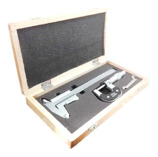 Combo Pie De Rey 150 Mm X 0.05 Mm + Micrometro 0-25x0.01mm