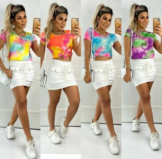Blusa Blusinha T-shirt Tie Dye Roupa Feminina Barato
