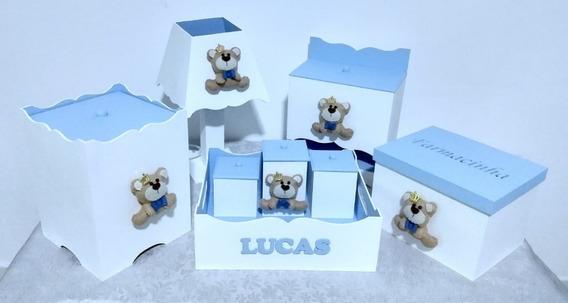Kit Higiene De Bebê Mdf Tema Ursinho Príncipe Feltro