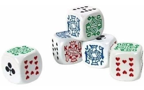 Imagen 1 de 1 de Set De 5 Dados Poker Blancos  Juego De Mesa Importado Cacho