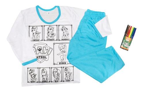Imagem 1 de 6 de Pijama Infantil Inverno Colorir Manga Longa Presente Menino