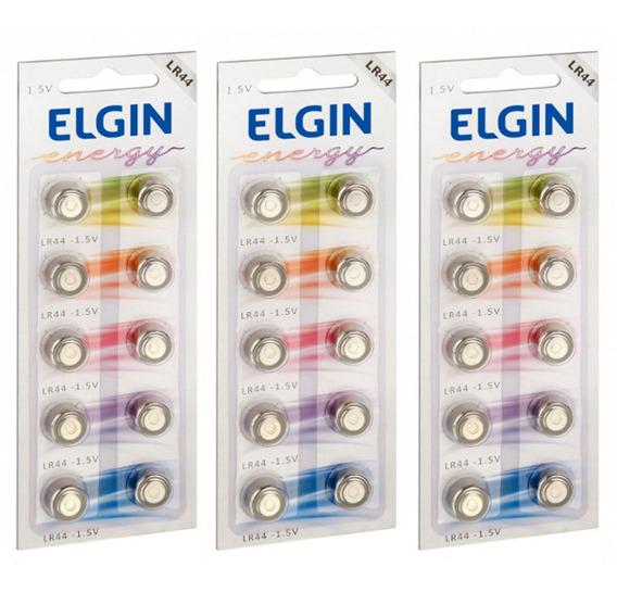 3 Cartelas Bateria Alcalina Energy Lr44 1,5v 30 Un. Elgin