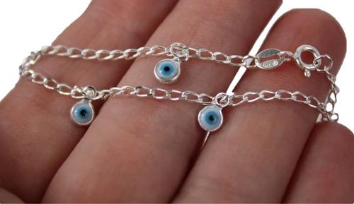 Pulseira Infantil Olho Grego Proteção Prata 925 Legítima