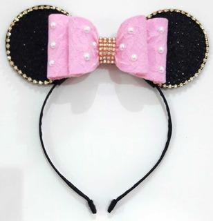 Mini Mouse Rosa Claro vestir-se Tiara Faixa De Cabelo Com Orelhas Rosa /& Laço Rosa
