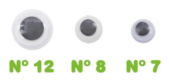 Ojos Moviles P/ Pegar Peluche N 7, 8 Y 12 X 100 Unid