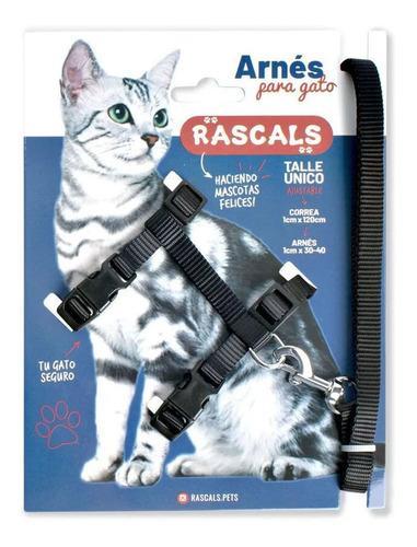 Imagen 1 de 6 de Arnes Y Correa Rascals Negro Para Gato