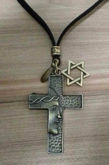Colar Cordão Cruz C/imagem De Jesus+estrela - Couro Legítim