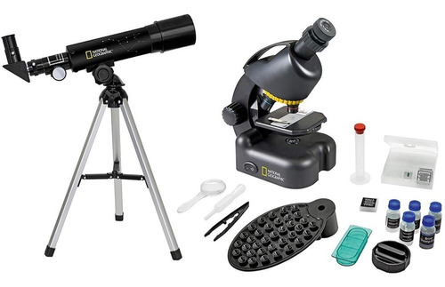 Telescopio + Microscopio +accesorios + Estuche Nat Geo Niños