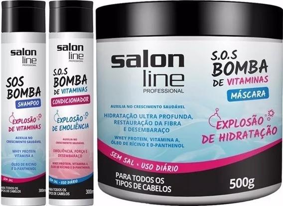 Kit Shampoo + Cond + Máscara Salon Line Bomba ( 3 Produtos )