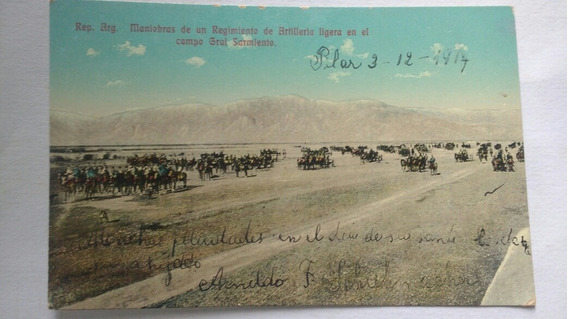Postal Antigua Argentina Ejército Artillería Ejercicios