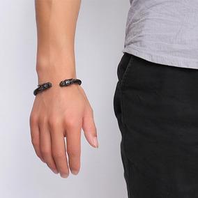 Pulseira Bracelete Masculino Dragão Aço Preto