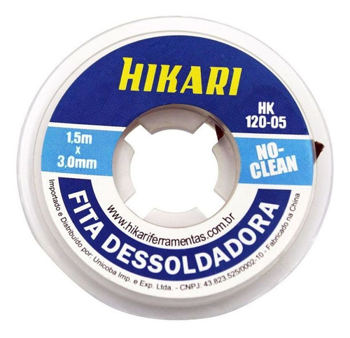 Imagem 1 de 3 de Malha Fita Dessoldadora - Malha Hikari Hk-120-05 1,5m 3mm Nf
