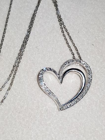 Dije De Corazón Con Diamantes Y Collar Marca Jx