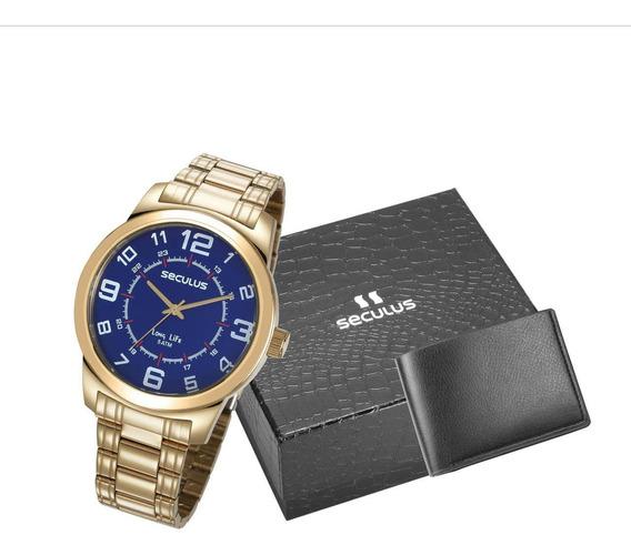 Relógio Masculino Banhado A Ouro + Carteira 23641gpsvda3k1