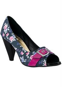 Sapato Peep Toe Estampa Floralfrete Gratis