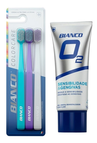 Kit 3 Escovas De Dente Colorcare + Creme Dental Bianco O2