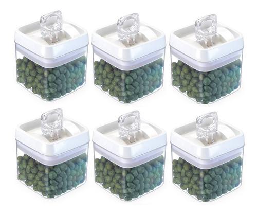 Conjunto 6 Potes Herméticos Acrílico 1,1 Litros Injeplastec