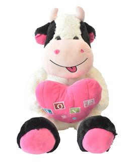 Vaca De Peluche Con Corazón Rosa 50 Cm