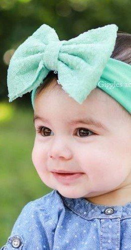 Lindo Moño Color Menta Lentejuelas Niñas Bebes Nenas