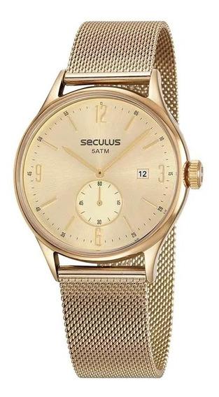 Relógio Seculus Unissex 13039gpsvda2 Dourado