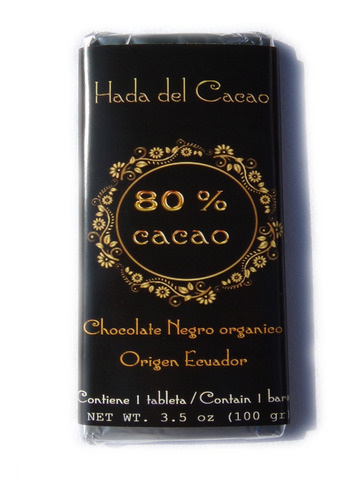 Chocolate 80% Cacao Artesanal Con Stevia 100 Gr Hadadelcacao