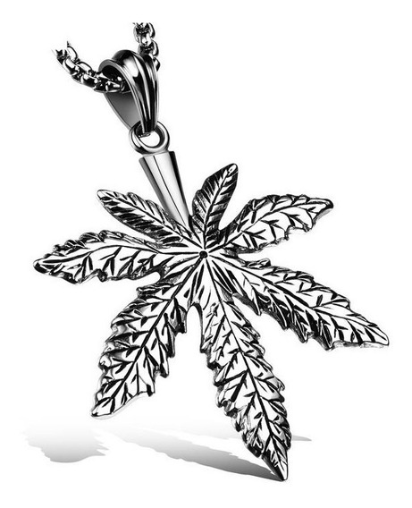 Nuevo Collar Hoja Carcamo Marihuana Acero Inox Titanio M903