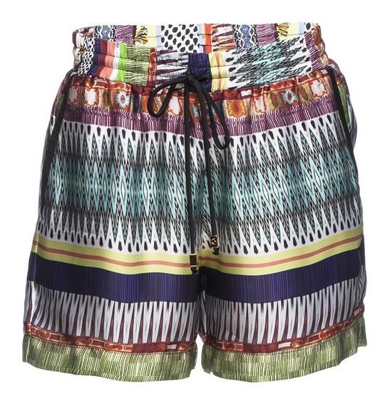 Shorts Bermuda Soltinho Feminino Estampado Social Em Cetim