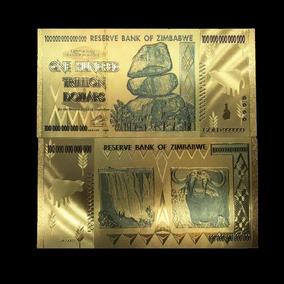 10 Notas Zimbabwe Douradas 100 Trilhões Grátis Moeda Bitcoin