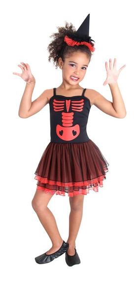 Disfraz Halloween Bruja Esqueleto Rojo Red Sulamericana