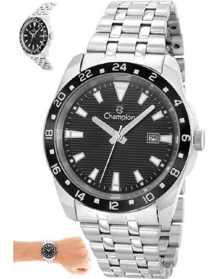 Relógio Masculino Champion Prateado Visor Preto Caixa 4,1 Cm