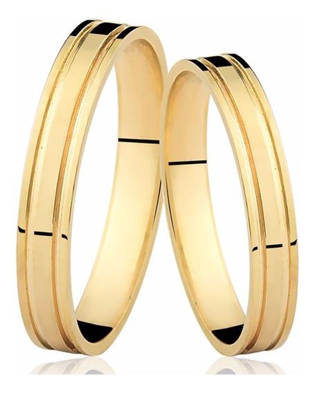 Par De Alianças De Ouro 18k 4mm 4 Gramas, Casamento Noivado