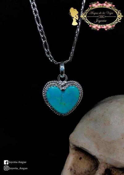 Dije Corazón Con Piedra Turquesa Plata .925