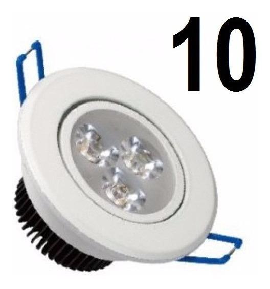 Kit 10 Spots Led Luz Branco Frio Direcionável 3w Teto Sanca
