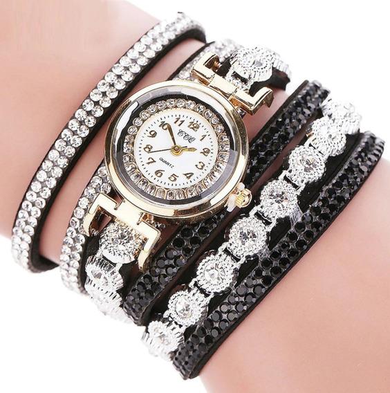 Relógio Feminino Pulseira Strass Liga Luxo Promoção Barato