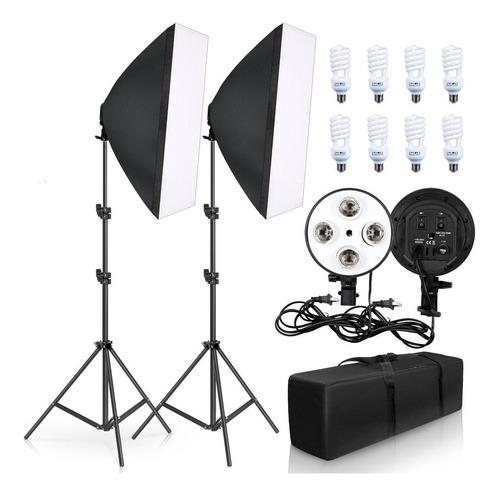 Iluminación De Fotografía Kit De Softbox De Cuatro Lámparas