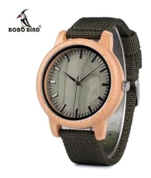 Relógio Bobo Bird Verde Bambu Original Presente Bamboo