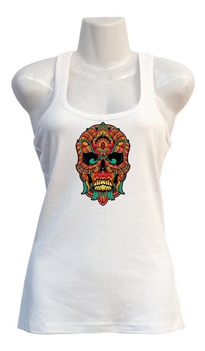 Polera Skull Zentangle - Deportiva - Vinilo Sublimable